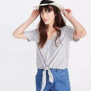 Madewell Novel Tie-Front Top in Stripe Blue White